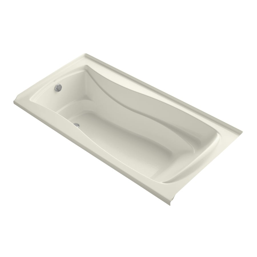 KOHLER Mariposa 72-in Biscuit Acrylic Alcove Air Bath with Left-Hand Drain