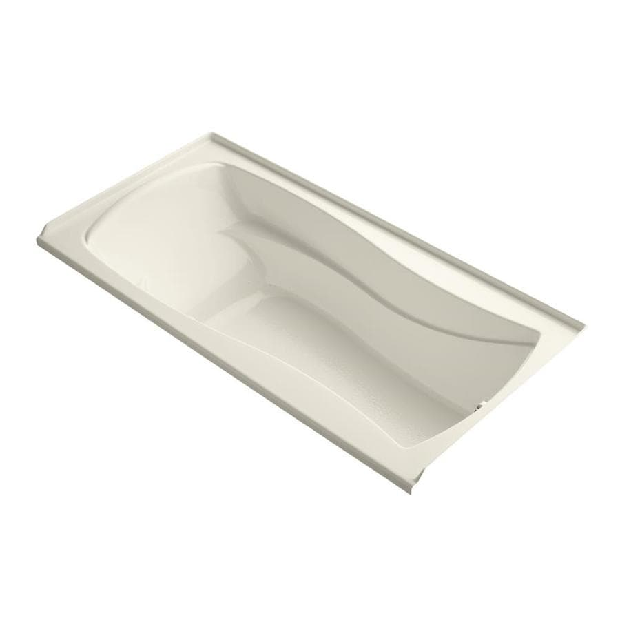 KOHLER Mariposa 72-in Almond Acrylic Alcove Air Bath with Right-Hand Drain