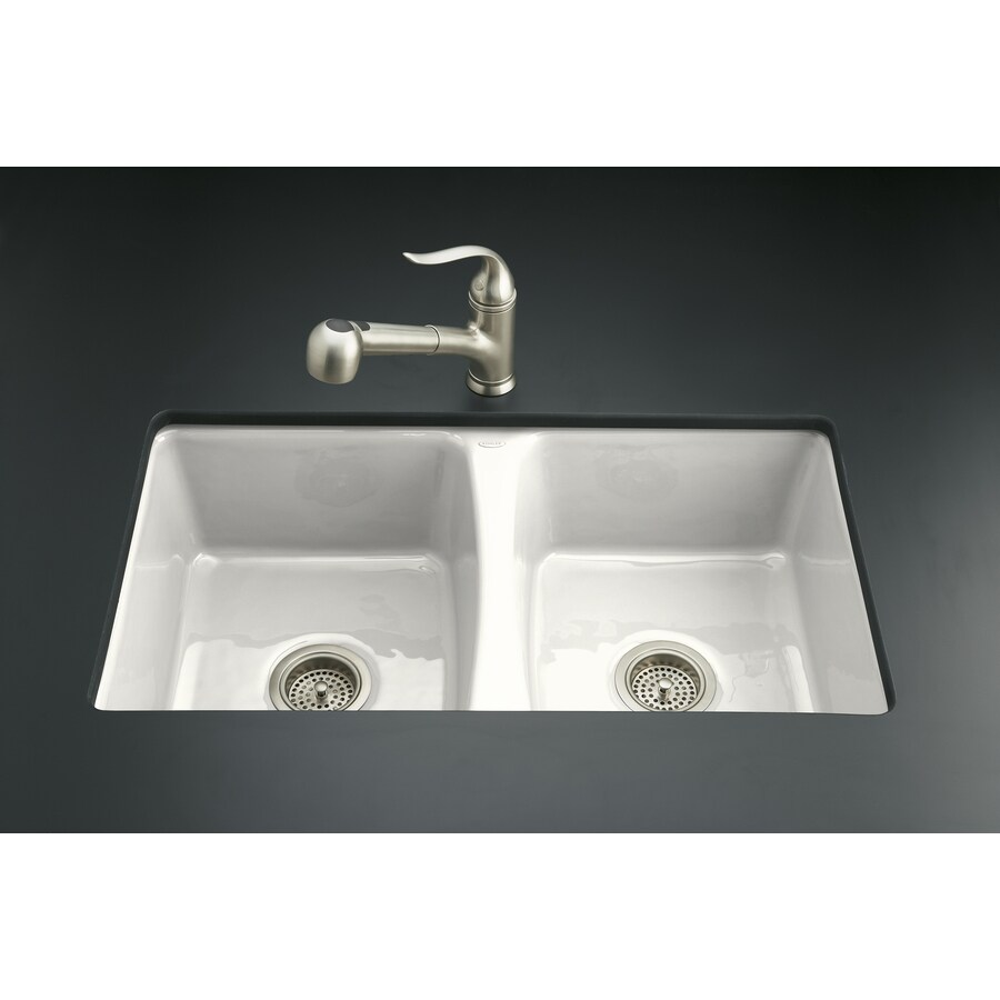 kohler deerfield 22in x 33in white doublebasin cast iron undermount
