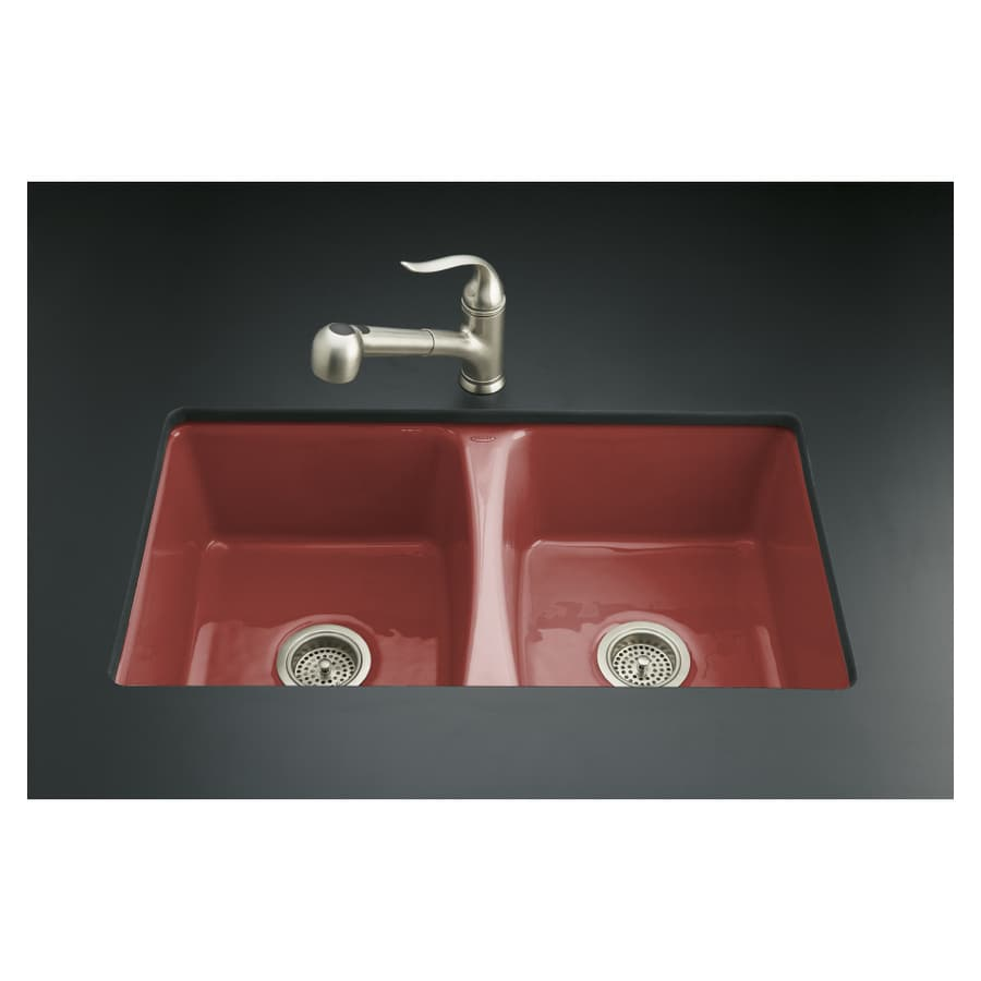 Kohler Double Bathroom Sink: KOHLER Roussillon Red 5-Hole Double-Basin Cast Iron