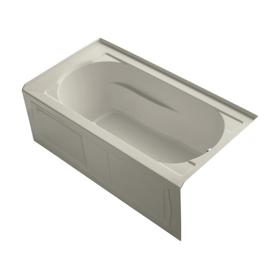 KOHLER Devonshire 60-in Sandbar Acrylic Alcove Air Bath with Right-Hand Drain