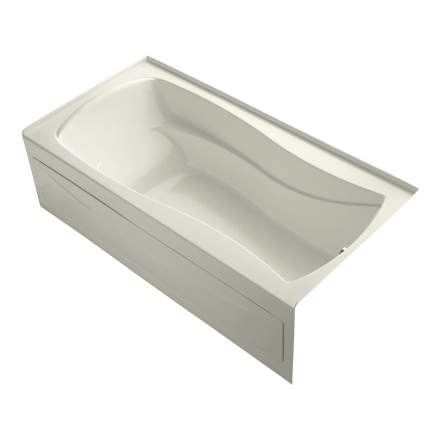 KOHLER Mariposa 72-in Biscuit Acrylic Alcove Air Bath with Right-Hand Drain
