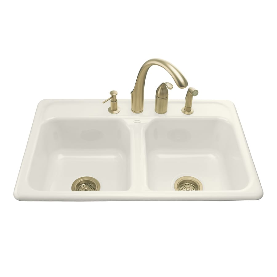 KOHLER Delafield 22-in x 33-in Biscuit Double-Basin Cast Iron Drop-in 3-Hole Residential Kitchen Sink