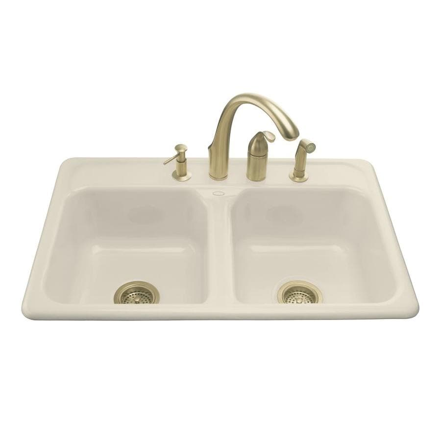 KOHLER Delafield 22-in x 33-in Almond Double-Basin Cast Iron Drop-in 4-Hole Residential Kitchen Sink