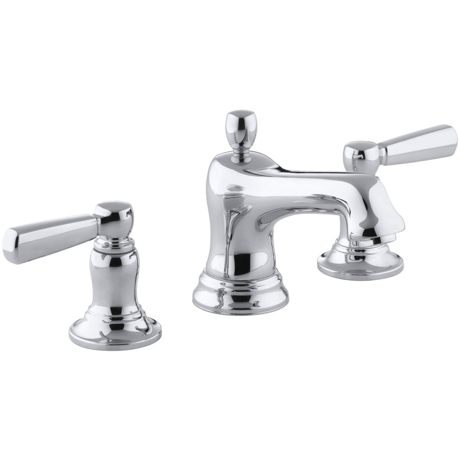Kohler bancroft polished chrome 2 handle widespread - Kohler two tone bathroom faucets ...