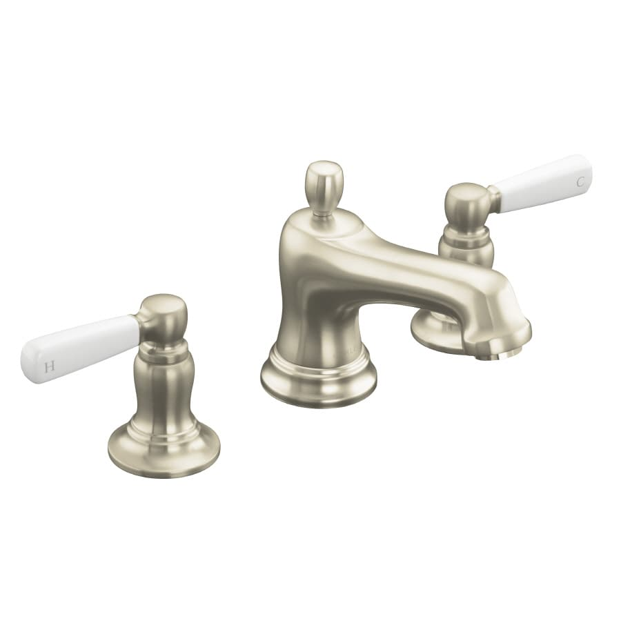 KOHLER Bancroft Vibrant Brushed Nickel 2-Handle Widespread WaterSense Bathroom Faucet (Drain Included)