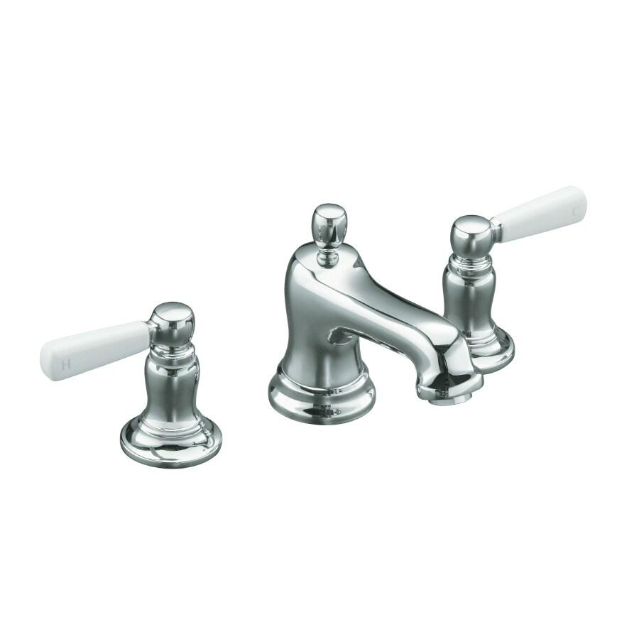 Shop Kohler Bancroft Polished Chrome 2 Handle Widespread Bathroom Faucet Drain Included At
