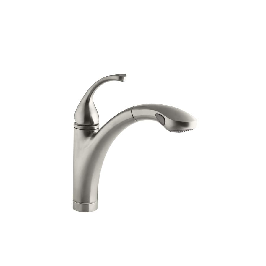 kitchen faucets stainless steel pull out shop kohler forte vibrant stainless steel 1 handle pull 24694