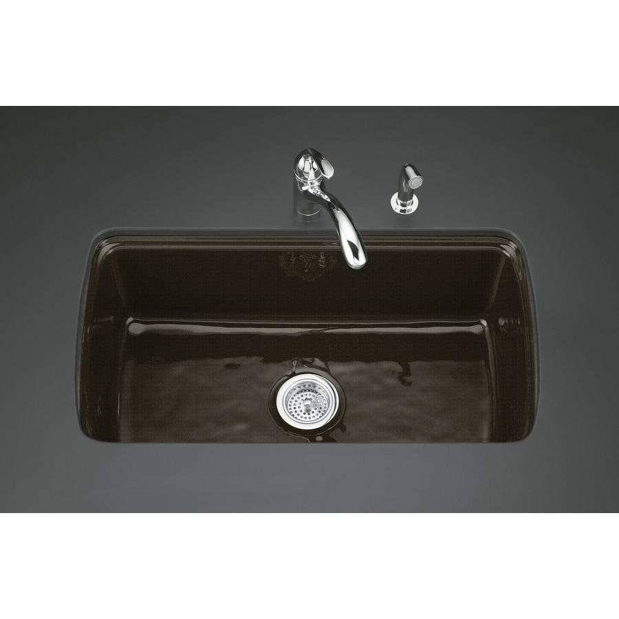 KOHLER Cape Dory 22-in x 33-in Black 'N Tan 1 Cast Iron Undermount 5-Hole Residential Kitchen Sink