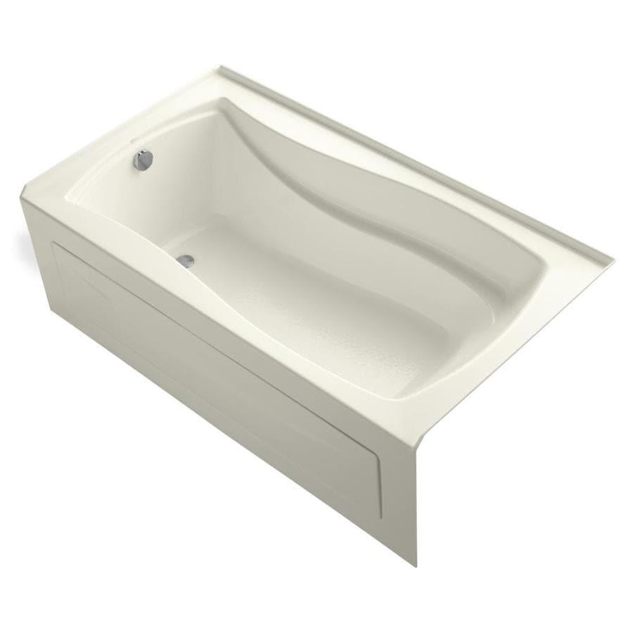 KOHLER Mariposa Biscuit Acrylic Hourglass In Rectangle Alcove Bathtub with Left-Hand Drain (Common: 36-in x 66-in; Actual: 20-in x 36-in x 66-in)