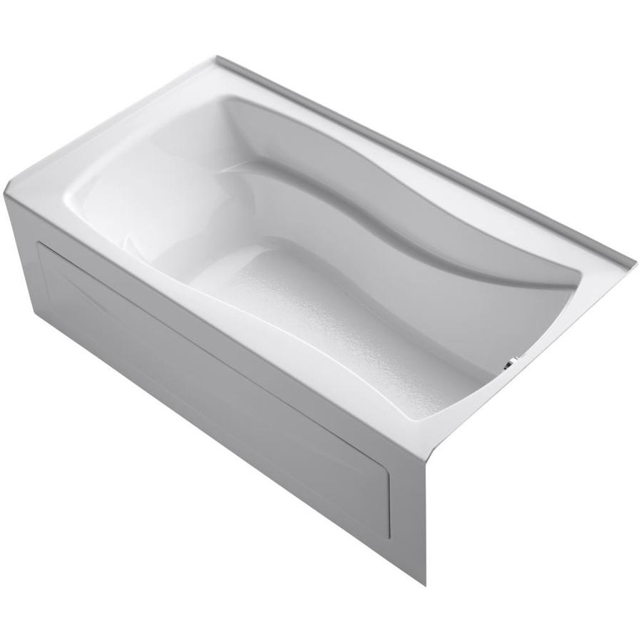 KOHLER Mariposa White Acrylic Hourglass In Rectangle Alcove Bathtub with Right-Hand Drain (Common: 36-in x 66-in; Actual: 20-in x 36-in x 66-in)