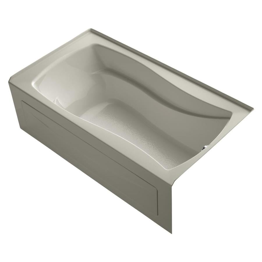 KOHLER Mariposa Sandbar Acrylic Hourglass In Rectangle Alcove Bathtub with Right-Hand Drain (Common: 36-in x 66-in; Actual: 20-in x 36-in x 66-in)