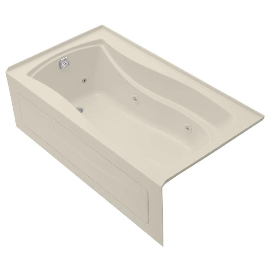 KOHLER Mariposa 66-in Almond Acrylic Alcove Whirlpool Tub with Left-Hand Drain