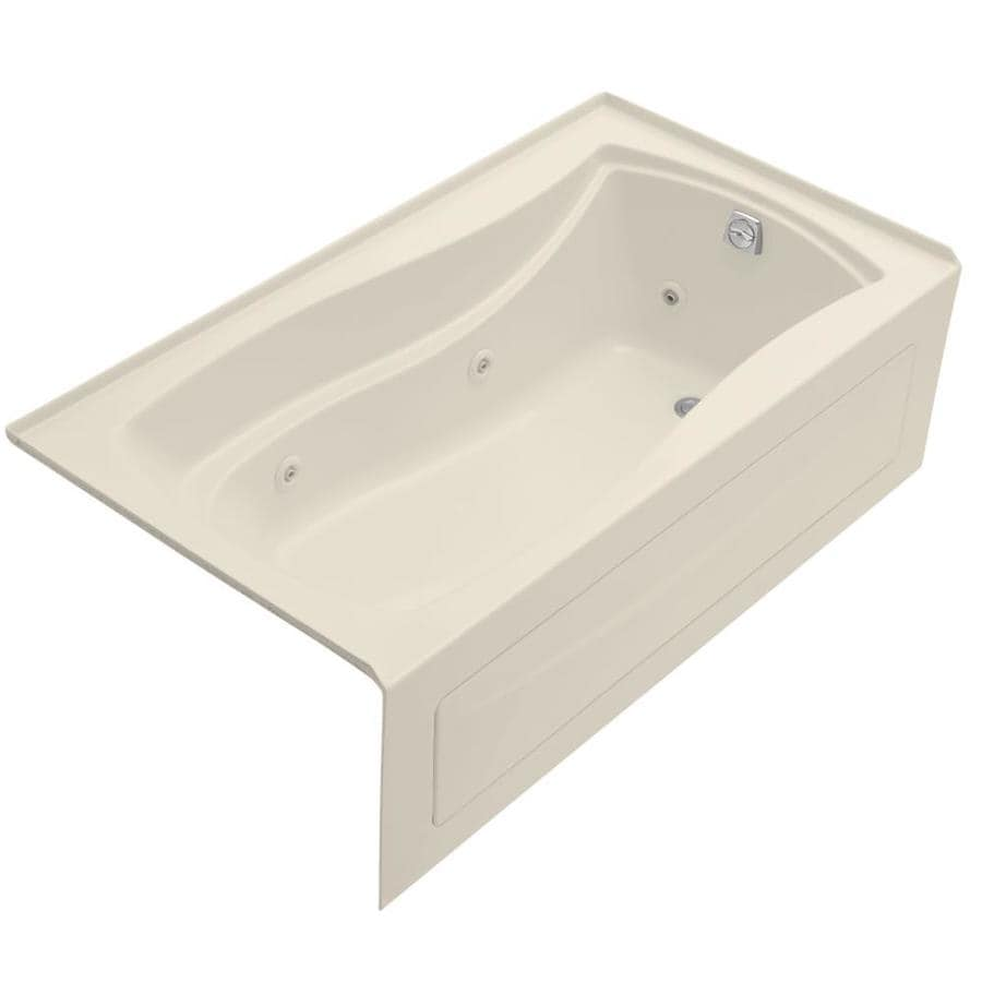 KOHLER Mariposa Almond Acrylic Rectangular Whirlpool Tub (Common: 36-in x 66-in; Actual: 20-in x 36-in x 66-in)