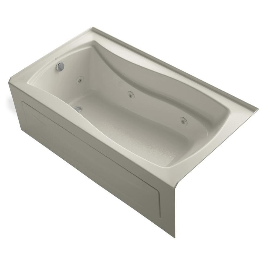 KOHLER Mariposa 66-in Sandbar Acrylic Alcove Whirlpool Tub with Left-Hand Drain