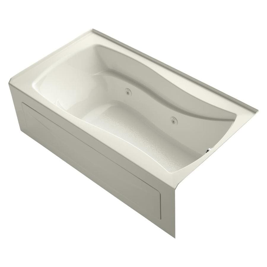 KOHLER Mariposa 66-in Biscuit Acrylic Alcove Whirlpool Tub with Right-Hand Drain