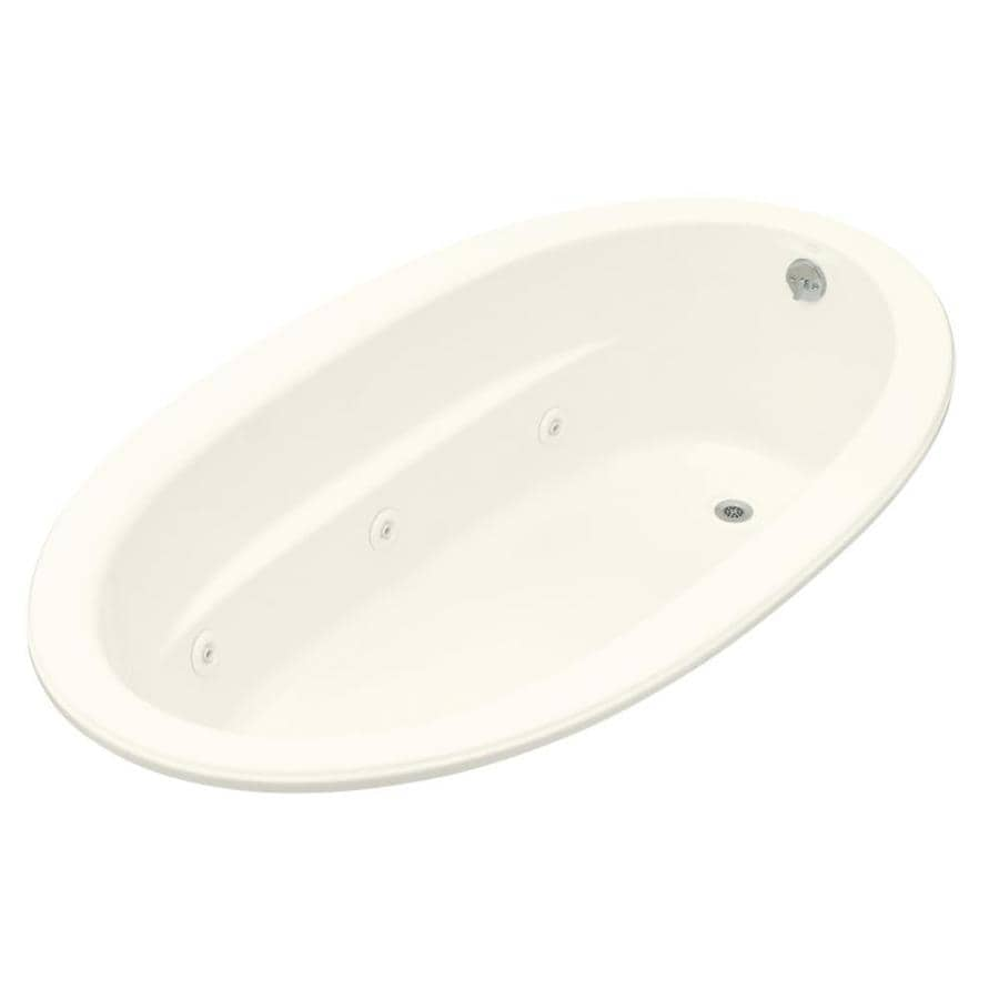 KOHLER Sunward 72-in Biscuit Acrylic Drop-In Whirlpool Tub with Reversible Drain