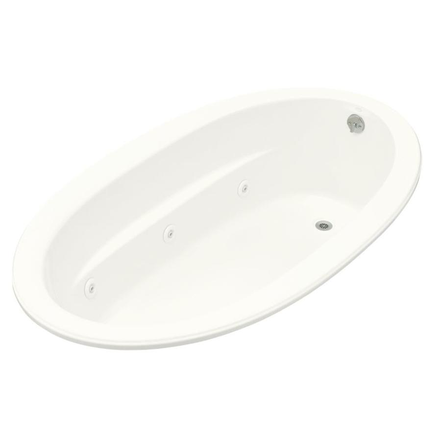 KOHLER Sunward 72-in White Acrylic Drop-In Whirlpool Tub with Reversible Drain