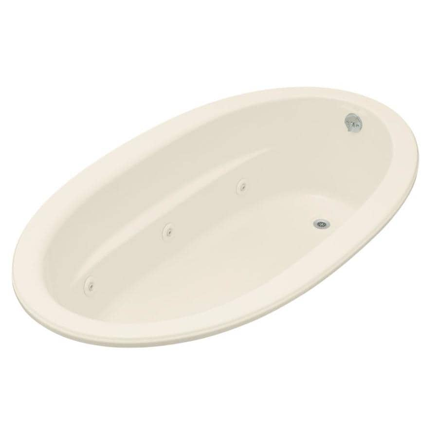 KOHLER Sunward 72-in Almond Acrylic Drop-In Whirlpool Tub with Reversible Drain