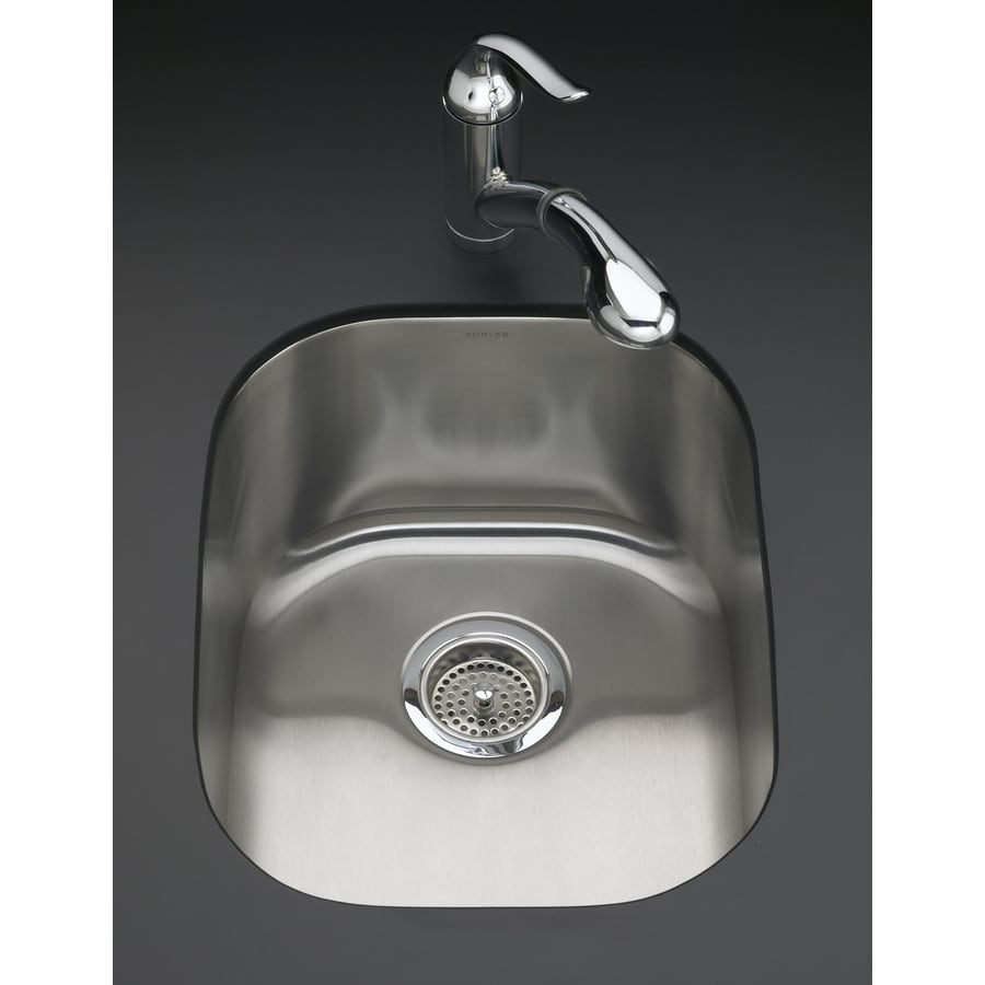KOHLER Undertone 19.62-in x 15.5-in Stainless Steel Single-Basin-Basin Stainless Steel Undermount (Customizable)-Hole Residential Kitchen Sink