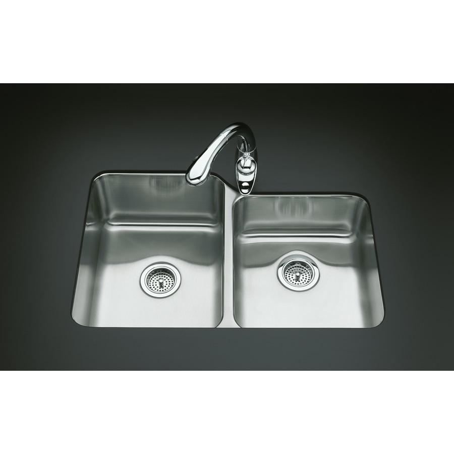 KOHLER Undertone 20.87-in x 31.5-in Double-Basin Stainless Steel Undermount Residential Kitchen Sink