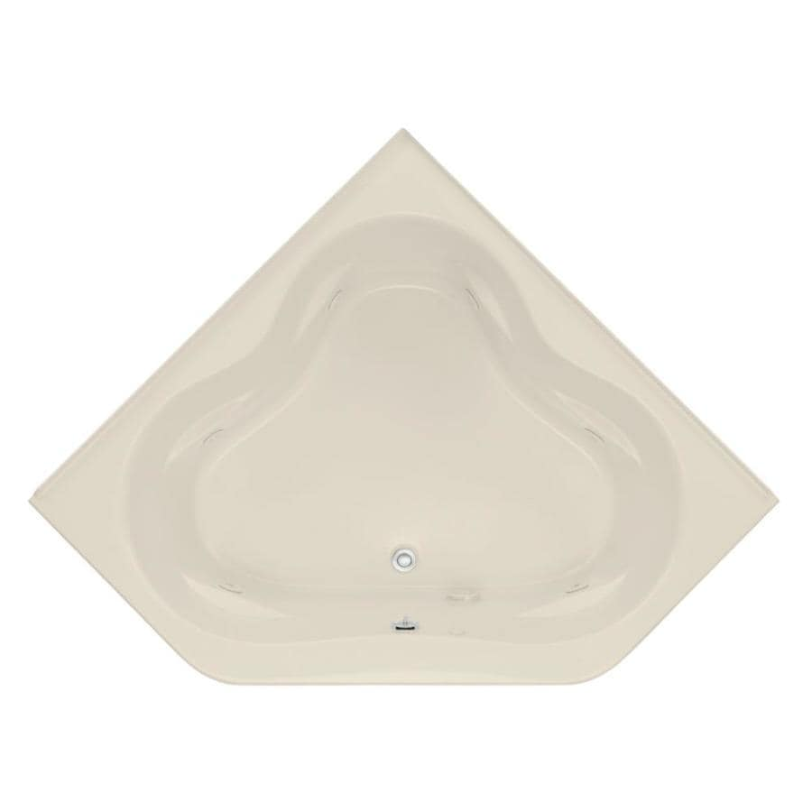 KOHLER Tercet 60-in Almond Acrylic Drop-In Whirlpool Tub with Front Center Drain