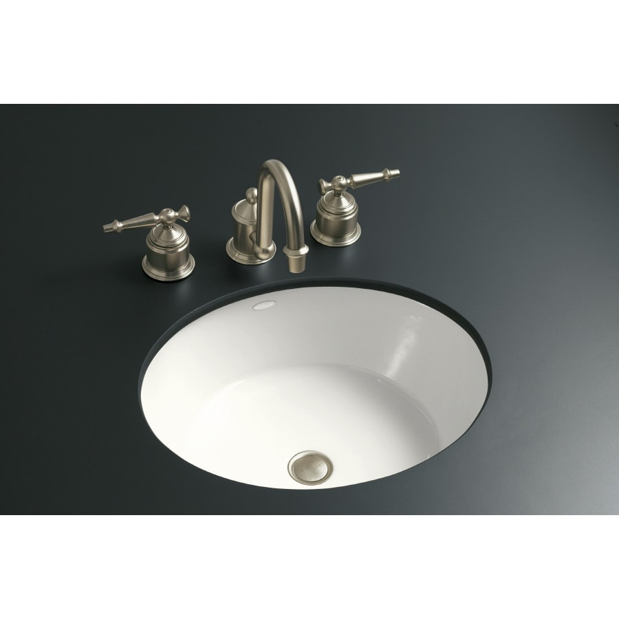Shop kohler iron flute white cast iron undermount round bathroom sink at Kohler cast iron bathroom sink