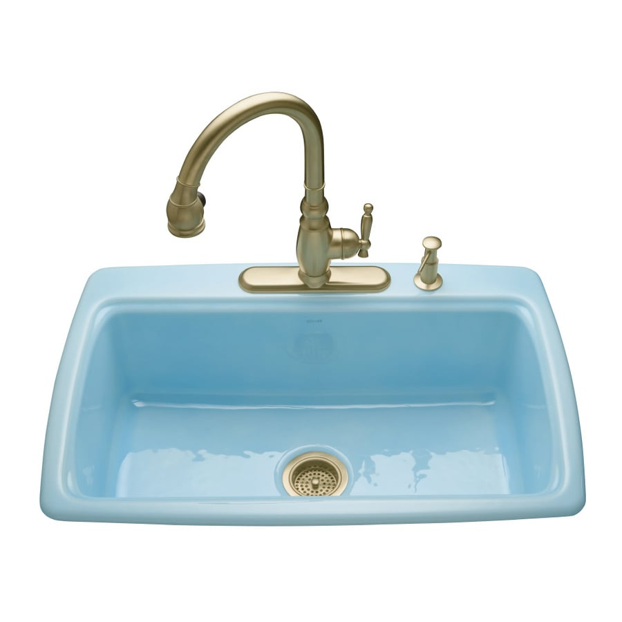 Shop KOHLER Vapour Blue 2-Hole Single-Basin Cast Iron Topmount ...