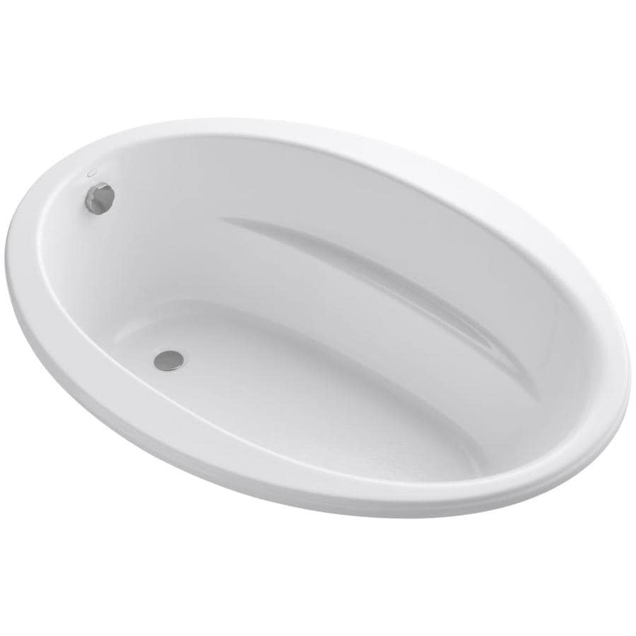 KOHLER Sunward White Acrylic Oval Drop-in Bathtub with Reversible Drain (Common: 42-in x 60-in; Actual: 21-in x 42-in x 60-in)