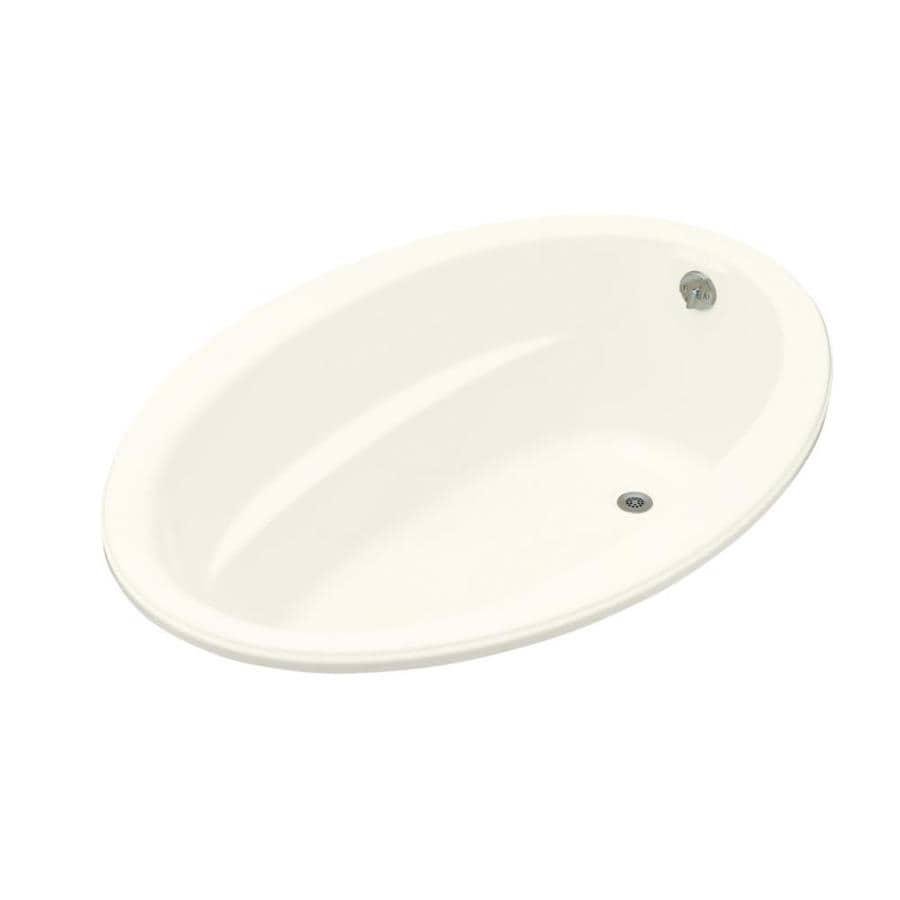 KOHLER Sunward Biscuit Acrylic Oval Drop-in Bathtub with Reversible Drain (Common: 42-in x 60-in; Actual: 21-in x 42-in x 60-in)