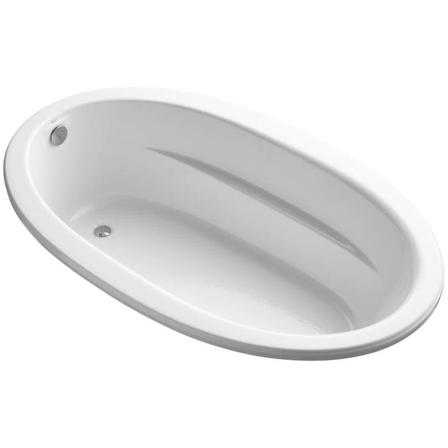 KOHLER Sunward White Acrylic Oval Drop-in Bathtub with Reversible Drain (Common: 42-in x 72-in; Actual: 21-in x 42-in x 72-in)