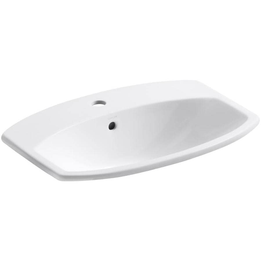 Bathroom Sink Drop In : KOHLER Cimarron White Drop-in Rectangular Bathroom Sink with Overflow