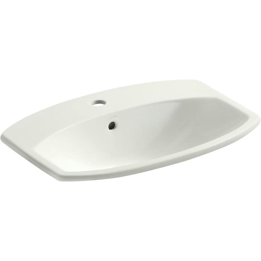 Kohler Rectangular Sink : KOHLER Cimarron White Drop-in Rectangular Bathroom Sink with Overflow