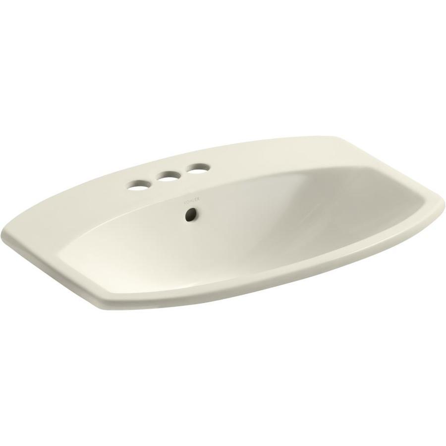 KOHLER Cimarron Almond Drop-in Rectangular Bathroom Sink with Overflow