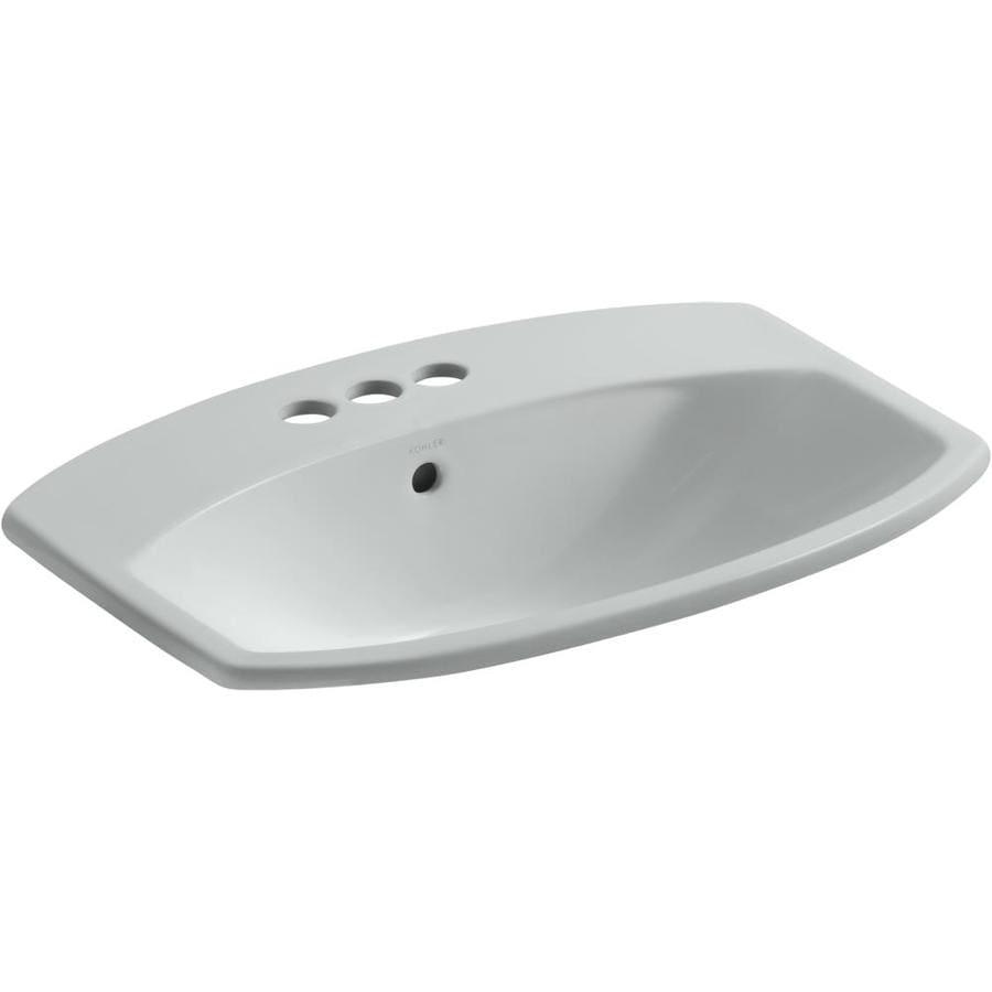 KOHLER Cimarron Ice Grey Drop-in Rectangular Bathroom Sink with Overflow