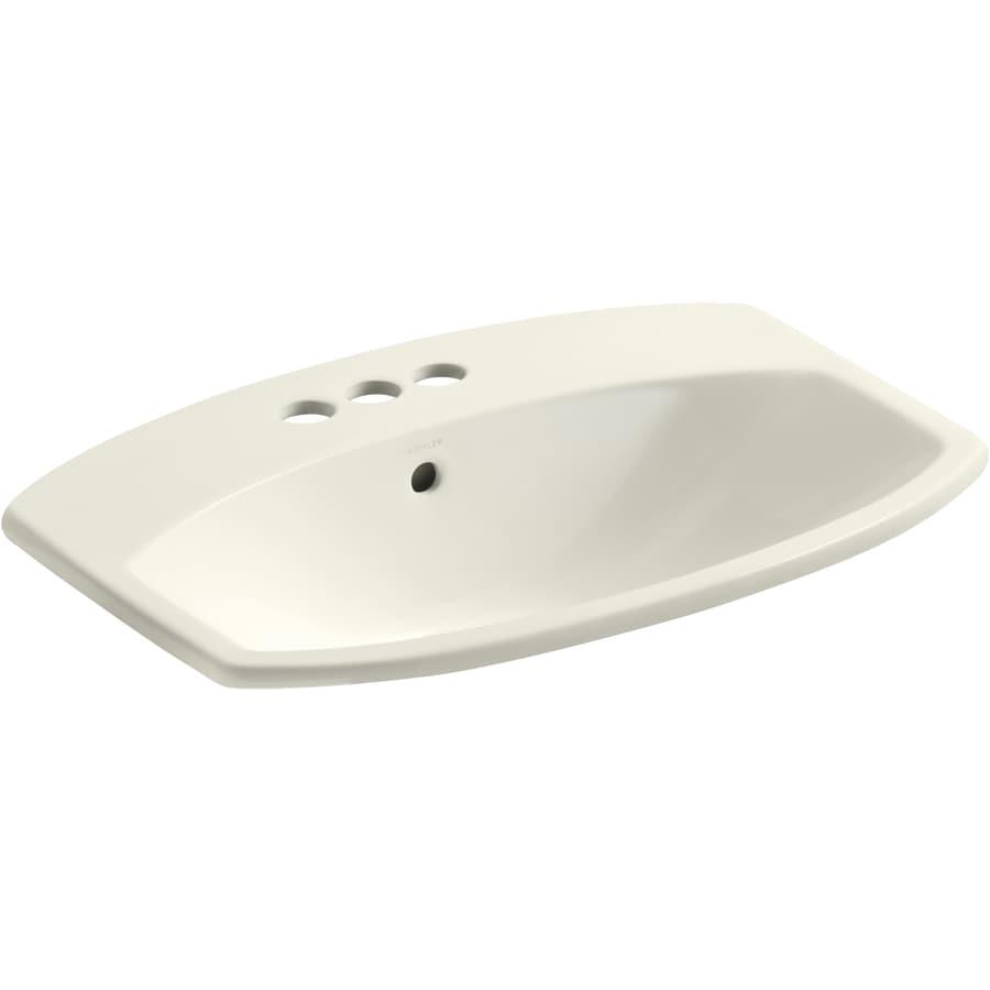 KOHLER Cimarron Biscuit Drop-In Rectangular Bathroom Sink with Overflow