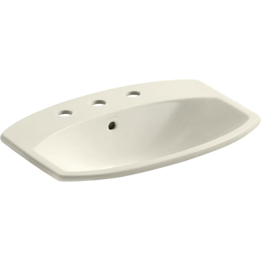 KOHLER Cimarron Almond Drop-in Rectangular Bathroom Sink with Overflow