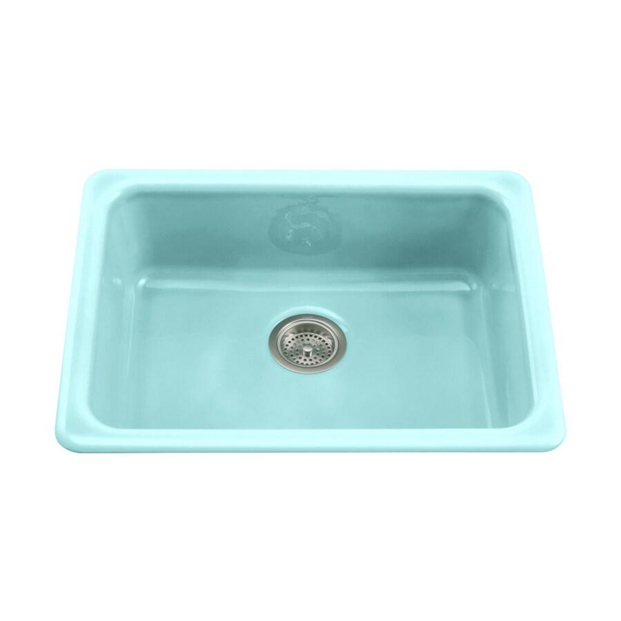 Shop KOHLER Vapour Green Single-Basin Cast Iron Kitchen Sink at ...