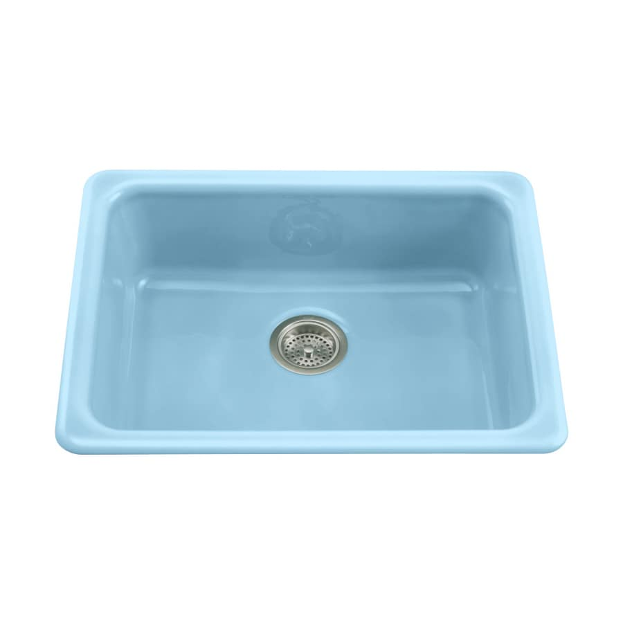 Kohler Vapour Blue Single Basin Cast Iron Kitchen Sink At Lowes Com