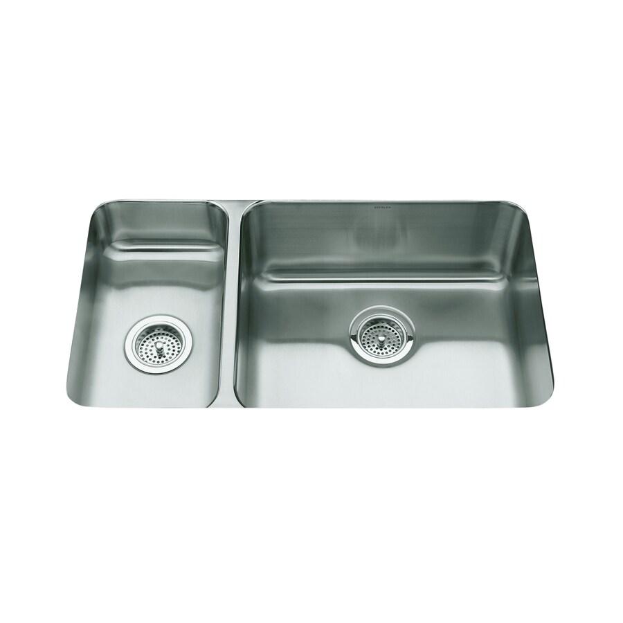 KOHLER Undertone 18-in x 31.5-in Double-Basin Stainless Steel Undermount Residential Kitchen Sink