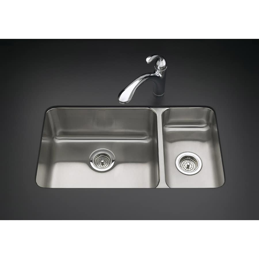 KOHLER Undertone 18-in x 31.5-in Stainless Steel Double-Basin Undermount Residential Kitchen Sink