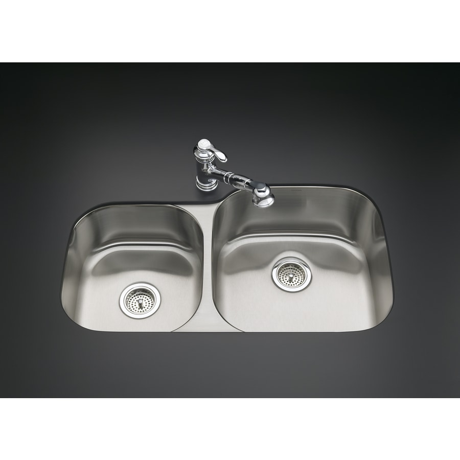 kohler stainless steel kitchen sinks undermount shop kohler undertone 20 12 in x 35 12 in basin 9649