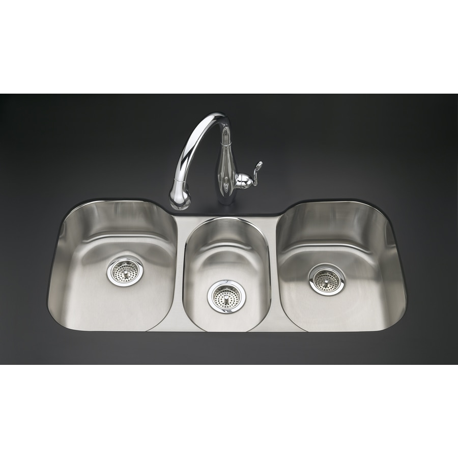 KOHLER Undertone 20.12-in x 41.62-in Triple-Basin Stainless Steel Undermount Residential Kitchen Sink