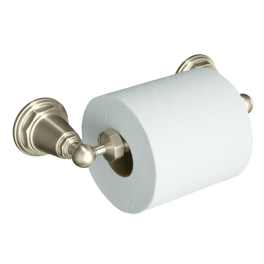 KOHLER Pinstripe Vibrant Brushed Nickel Surface Mount Spring-Loaded Toilet Paper Holder
