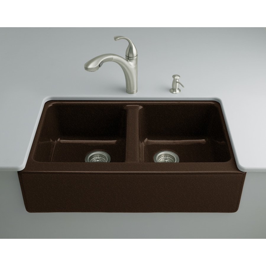 KOHLER Hawthorne 22.12-in x 33-in Black and Tan Double-Basin Cast Iron Apron Front/Farmhouse 4-Hole Residential Kitchen Sink