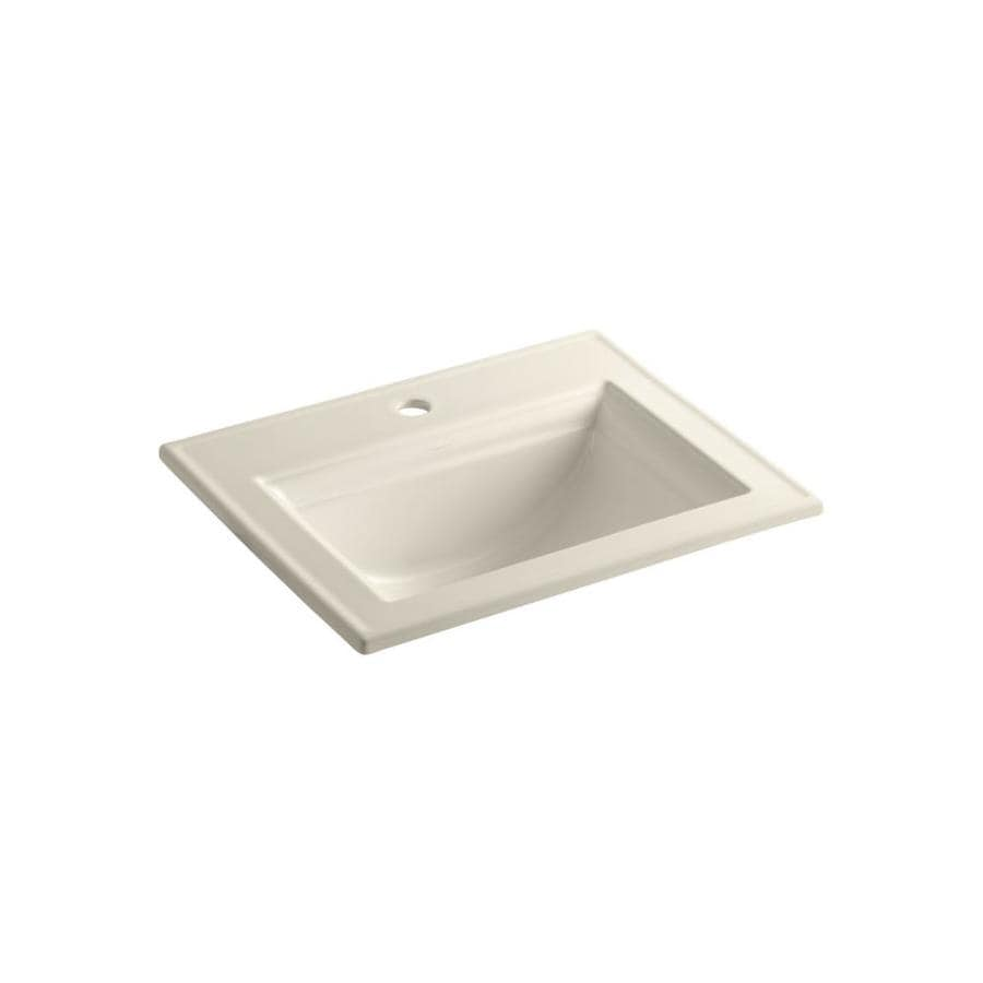Shop Kohler Almond Drop In Rectangular Bathroom Sink With Overflow At