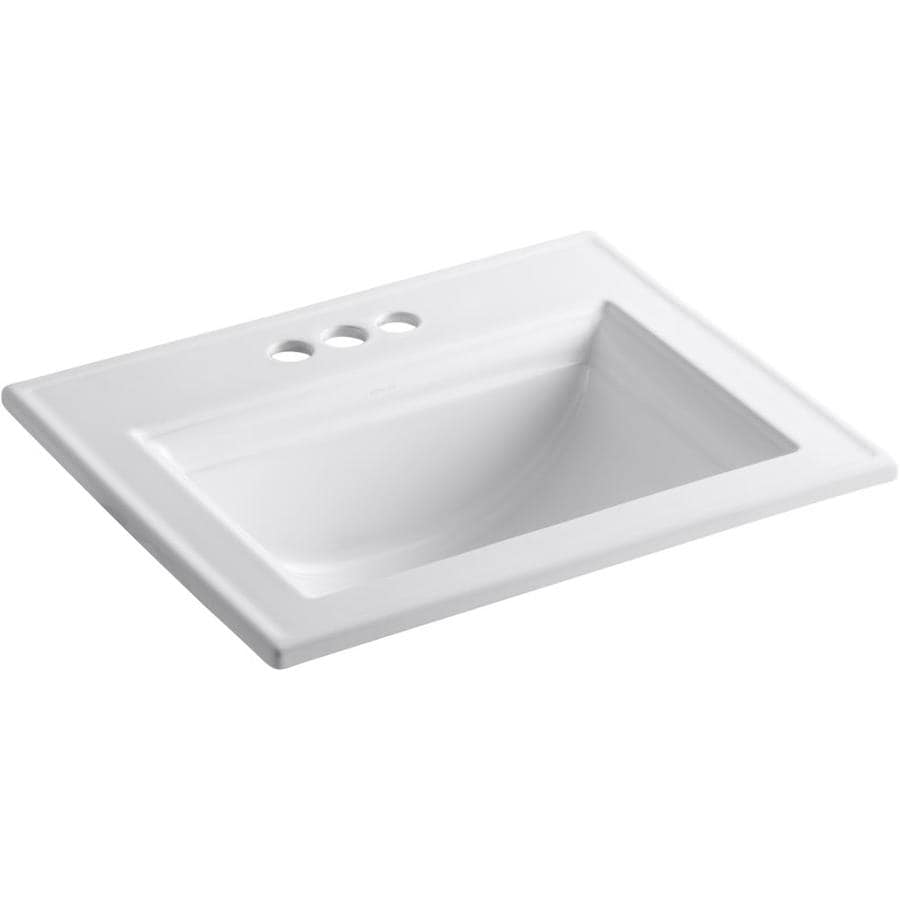 shop kohler memoirs white drop in rectangular bathroom sink with overflow at
