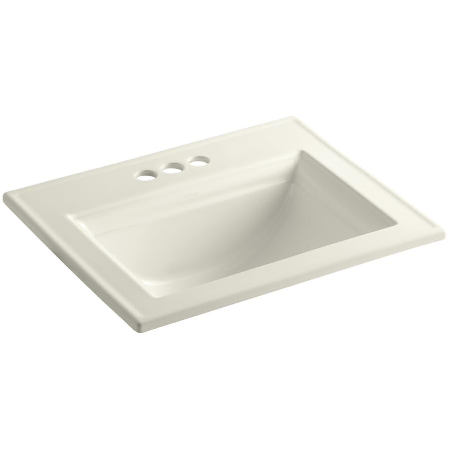 KOHLER Memoirs Biscuit Drop-in Rectangular Bathroom Sink with Overflow