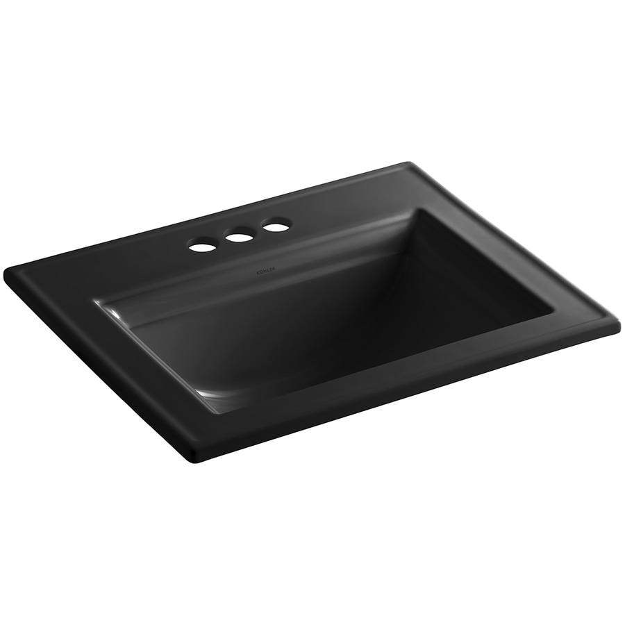 KOHLER Memoirs Black Black Drop-in Rectangular Bathroom Sink with Overflow