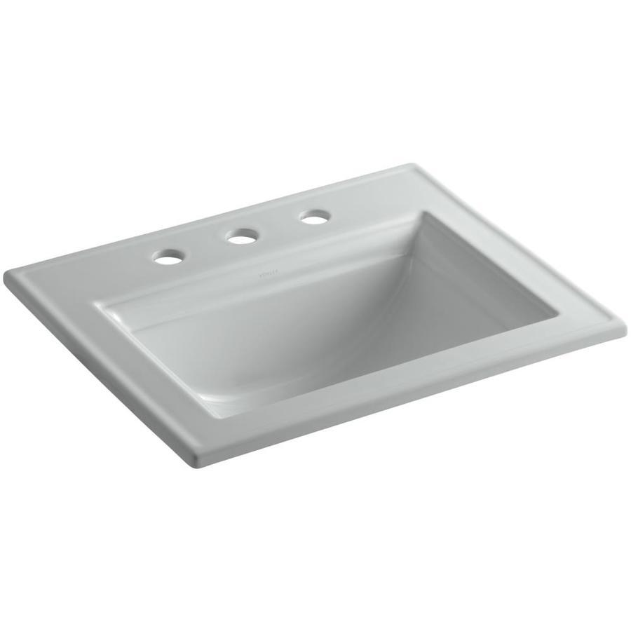 KOHLER Memoirs Ice Grey Drop-in Rectangular Bathroom Sink with Overflow